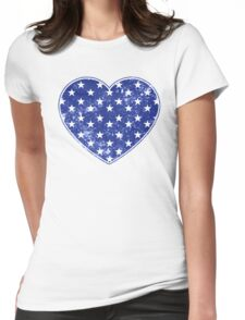 Vintage Patriotic Stars Pattern Heart in blue Womens Fitted T-Shirt