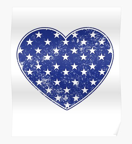 Vintage Patriotic Stars Pattern Heart in blue Poster