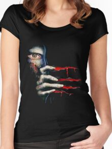 Capcom Resident Evil 2 Classic RARE Design. 100% Redrawn In Adobe Ilustrator Vector Format. Women's Fitted Scoop T-Shirt