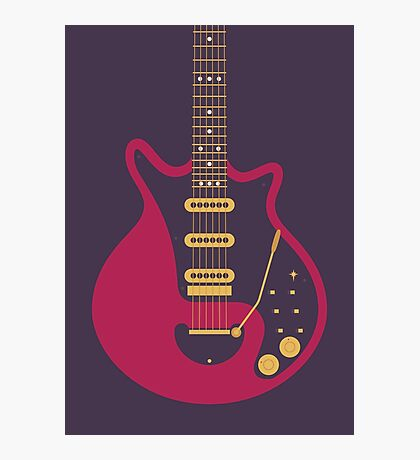 Brian May Red Special Guitar (Black) Photographic Print