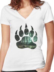 Lara Croft Tomb (Paw) Women's Fitted V-Neck T-Shirt