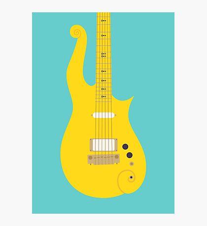Prince Cloud Guitar (Yellow Teal) Photographic Print
