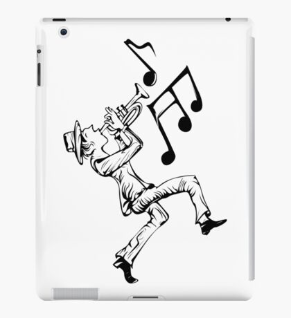 Pedestrian playing the trumpet iPad Case/Skin