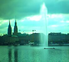 Hamburg - Alster-fountain -tiltshift by OLIVER W