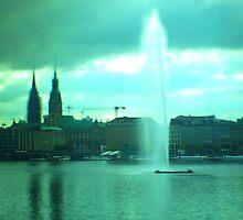 Hamburg - Alster-fountain -tiltshift by OLIVER W