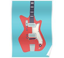 Jack White JB Hutto Montgomery Ward Airline Guitar (Large Blue) Poster