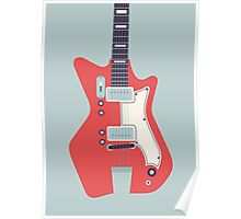Jack White JB Hutto Montgomery Ward Airline Guitar (Large Grey) Poster