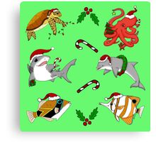Christmas Sea Creatures Canvas Print