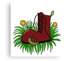 Boot in grass  Canvas Print