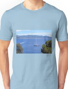 Beautiful natural landscape with the Ligurian Sea from Portofino. Unisex T-Shirt