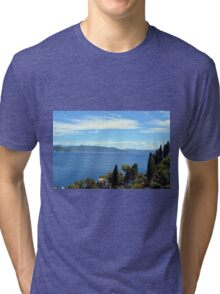 Beautiful natural landscape with the Ligurian Sea from Portofino. Tri-blend T-Shirt