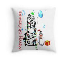 Kaz Art Creation Pandas & Penguin Christmas Throw Pillow