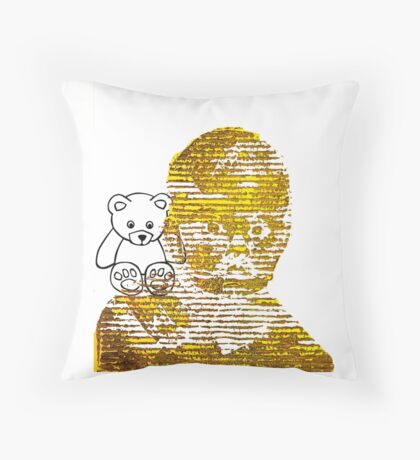 Forlorn Child and the Lost Teddy Bear   Throw Pillow