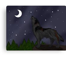 Howling Wolf (Black) Canvas Print