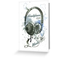 World in Headphones Greeting Card