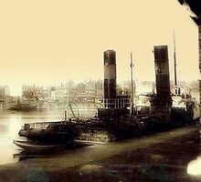 A Ship in Dock circa 1910 by cherylkerkin