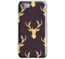 Shining golden reindeer seamless vector pattern. Shimmering glitter simple and stylish Christmas celebration design print. Speckled background. iPhone Case/Skin