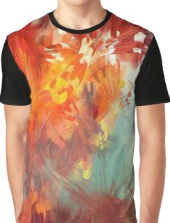 Abstract Red Leaves Graphic T-Shirt