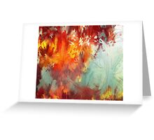 Abstract Red Leaves Greeting Card