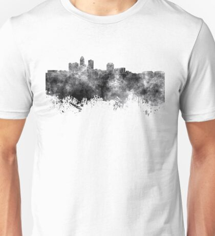 Des Moines skyline in black watercolor on white background Unisex T-Shirt