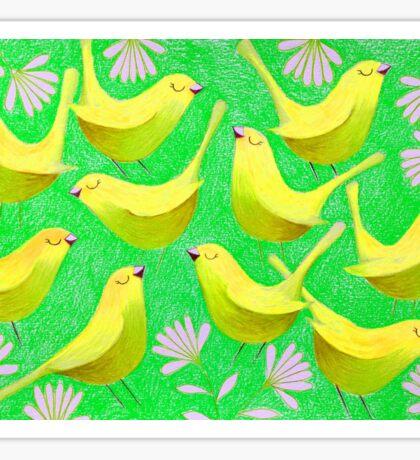 Gold birdies on lime Sticker