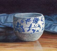 Blue Swirl Pot  by Belinda Lindhardt