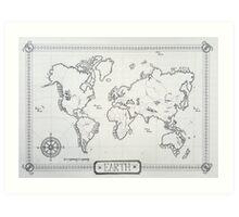 A world map of Earth Art Print