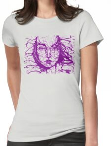 Woman Face Abstract Purple Womens Fitted T-Shirt