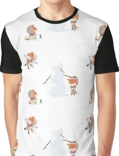Winter Fox Pattern Graphic T-Shirt