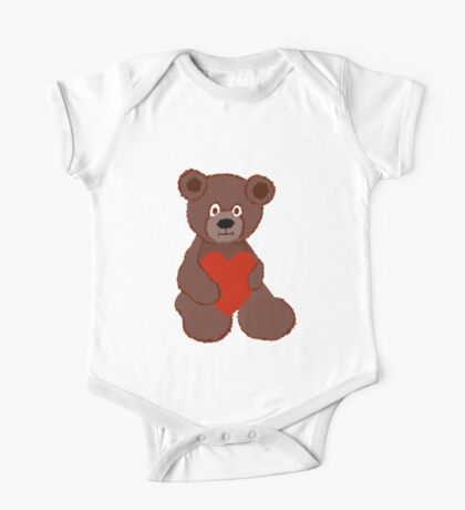 Teddy Has a Heart One Piece - Short Sleeve