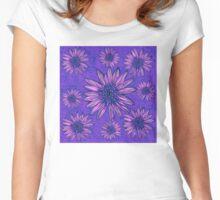 Purple Ink Daisies PiNk n PuRpLe fLoWeRs Women's Fitted Scoop T-Shirt
