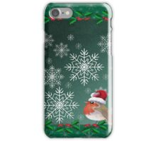 Robin redbreast against a green background with snowflakes and holly iPhone Case/Skin