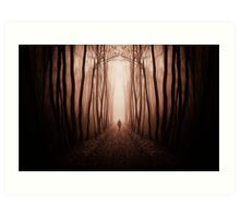 Man walking in dark surreal haunted red forest Art Print