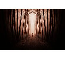 Man walking in dark surreal haunted red forest Photographic Print