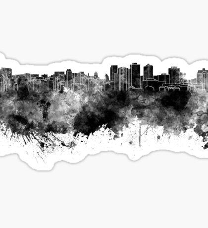 Halifax skyline in black watercolor on white background Sticker