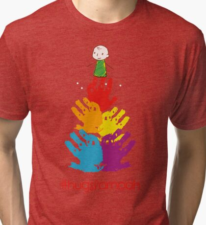 #HugsForNoah Christmas Tree Jumper Tri-blend T-Shirt