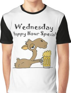 Funky Cool Camel Drinking Beer Cartoon Graphic T-Shirt