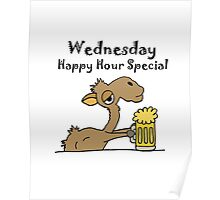 Funky Cool Camel Drinking Beer Cartoon Poster