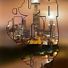 Chicago Skyline Typography Blur - State Shape Series by Gregory Ballos | gregoryballosphoto.com
