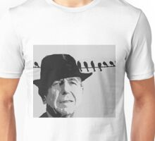 Leonard Cohen and Birds on a Wire Unisex T-Shirt