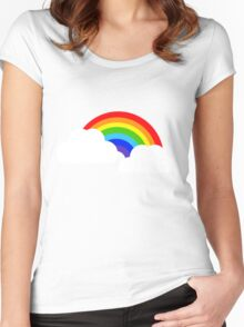 Rainbow within two white Clouds Women's Fitted Scoop T-Shirt