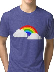 Rainbow within two white Clouds Tri-blend T-Shirt