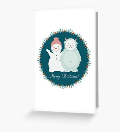 Yeti and snowman  Greeting Card