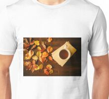 Cup of tea, books and autumnal foliage Unisex T-Shirt