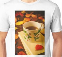 Cup of tea, books and colorful autumnal foliage Unisex T-Shirt