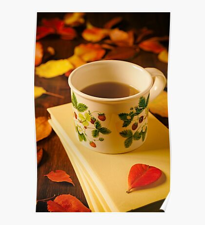 Cup of tea, books and colorful autumnal foliage Poster