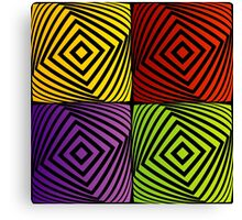 Colorful optical illusion with squares  Canvas Print