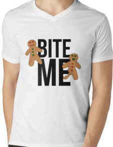 Bite me gingerbread man Mens V-Neck T-Shirt