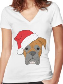 Christmas Festive boxer dog Women's Fitted V-Neck T-Shirt