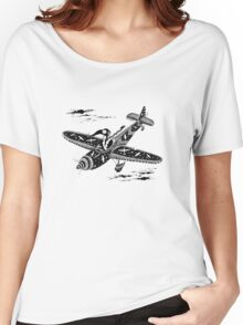 Pen and Ink Illustration of Aviator Mouse Women's Relaxed Fit T-Shirt